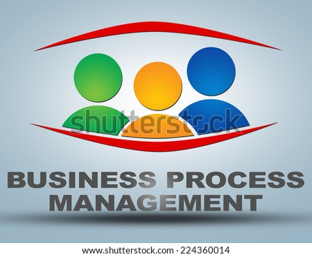 Business Process Management illustration concept on grey background with group of people icons - stock photo