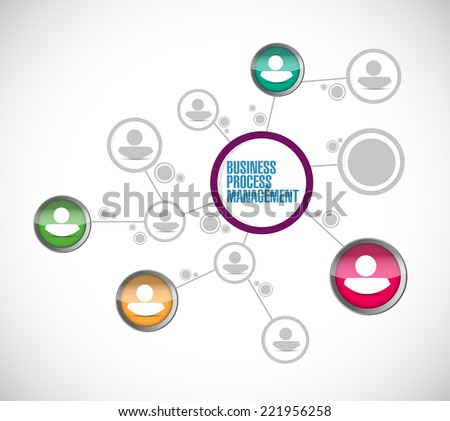 business process management network illustration design over a white background - stock photo