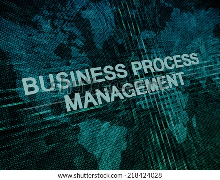Business Process Management text concept on green digital world map background  - stock photo