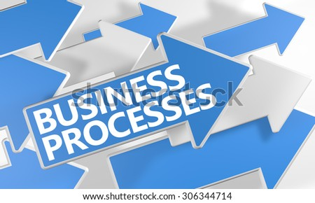 Business Processes - 3d render concept with blue and white arrows flying over a white background. - stock photo