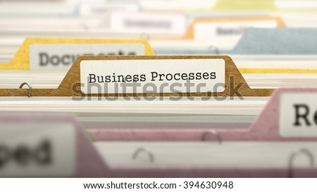 Business Processes on Business Folder in Multicolor Card Index. Closeup View. Blurred Image. 3D Render. - stock photo