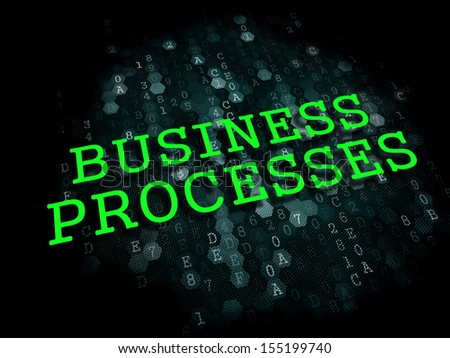 Business Processes - The Word in Light Green Color on Dark Digital Background. - stock photo