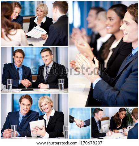 Business professionals conducting a meeting