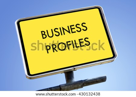 BUSINESS PROFILES word on road sign concept