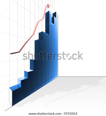 Business profit chart illustration in blue