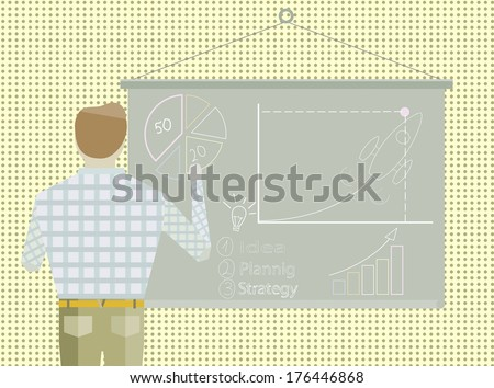 Business project Startup strategy Businessman making office presentation development and launch a new innovation product on a market concept Flat design illustratio - stock photo
