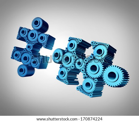 Business puzzle coming together as a success metaphor with two three dimensional jigsaw pieces made from gears and cog wheels merging and joining as a strong partnership through planned teamwork. - stock photo