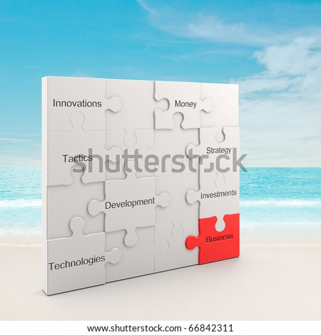 Business puzzle concept - stock photo