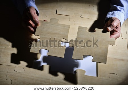 Business puzzle connection - stock photo