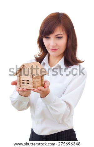 business, real estate and banking concept - smiling businesswoman with house - stock photo