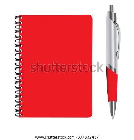business red note book and pan set raster illustration