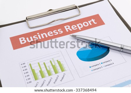 business report and man hand. Accounting