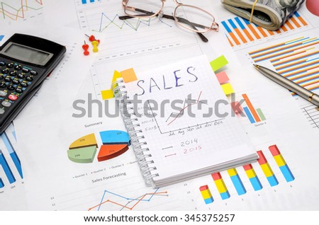 Business Report in Charts and Graphs with dollar, pen, calculator