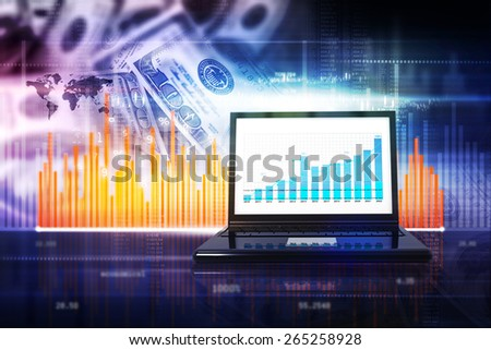 Business report with financial background - stock photo
