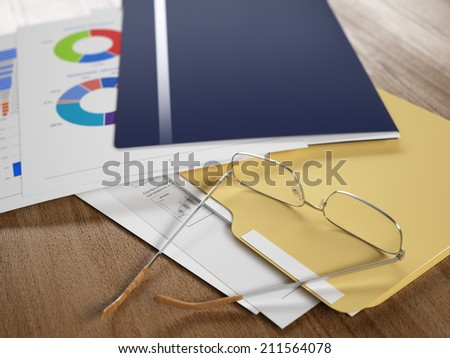 Business reports and documents, eyeglasses over it, some figures are visible. Shallow DoF. - stock photo