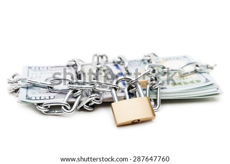 Business safety and finance protection concept - metal chain link with locked padlock on dollar currency money white isolated - stock photo