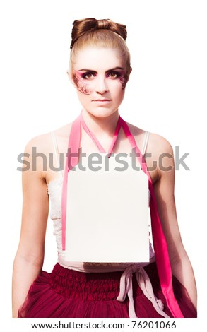 Business Sale Image With A Shopping Display Mannequin In Creative Makeup Wearing A Price Tag Sign With Text Copy Space, Image Isolated On A White Background - stock photo