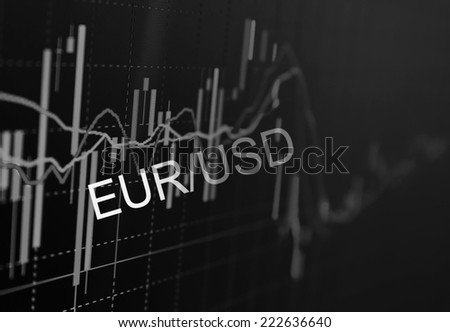 Business screen stock exchange data graph background.Analytics in pairs EUR / USD - stock photo