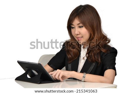 Business secretary woman with digital tablet