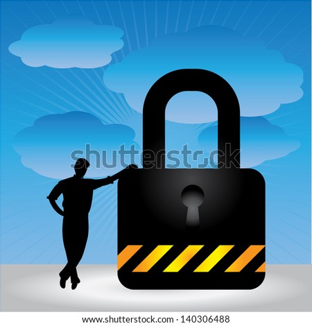 Business Security, Network Security or Computer Security Concept Present By A Businessman Leaning Against The Key Lock in Blue Sky Background - stock photo