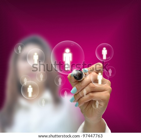 business selection concept by business woman writing business object on gradient purple background.