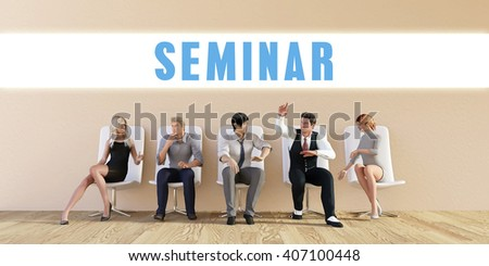 Business Seminar Being Discussed in a Group Meeting 3D Illustration Render - stock photo