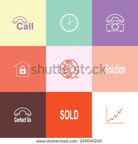 Business set. Flat color raster icons. - stock photo