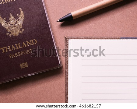 business set of thailand passport in concept travel notebook