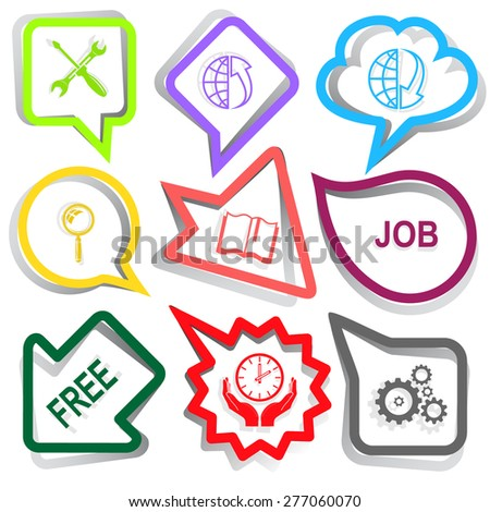 Business set. Paper stickers. Raster illustration. - stock photo
