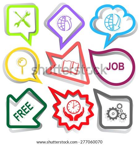 Business set. Paper stickers. Raster illustration. - stock photo