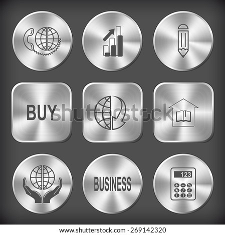 Business set. Raster round and square steel buttons. - stock photo