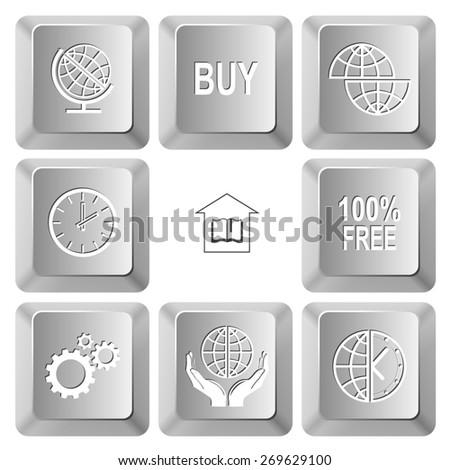 Business set. Raster set computer keys. - stock photo