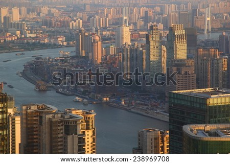 Business Shanghai city from above - stock photo