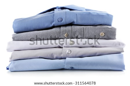 Business shirts, isolated on white - stock photo