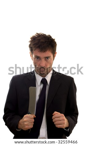 business showing the stress of life with a meat cleaver - stock photo