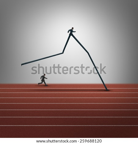 Business skills advantage concept and competitive dominance symbol as two running businessmen with one person with very long legs winning the race as a success metaphor for career superiority. - stock photo