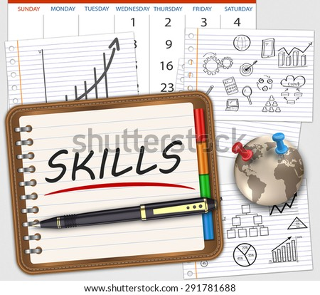 Business skills, handwritten in a notebook on the table as concept - stock photo