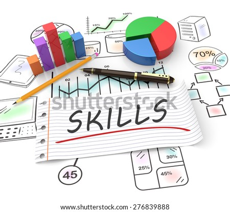 Business skills, handwritten on notebook paper with business graphs - stock photo