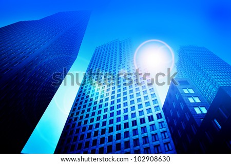Business skyscraper buildings in blue tone. Office work, big city, finance concepts - stock photo