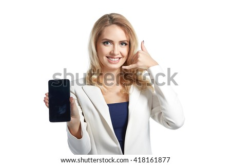 Business smiling woman showing a display of phone and making a call me sign