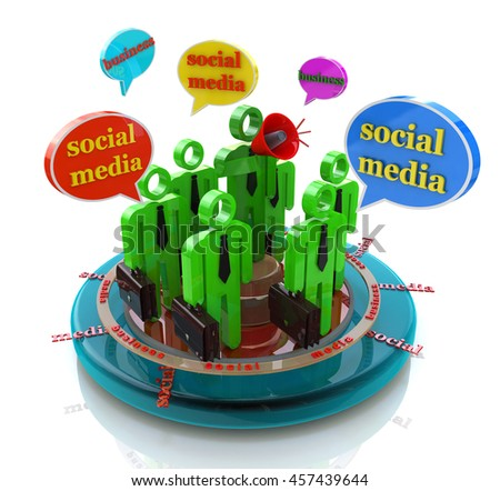 Business social media network speech bubbles in the design of the information related to the communication and message. 3d illustration - stock photo