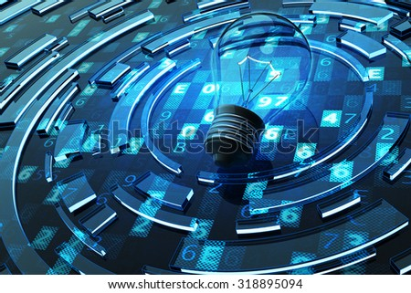 Business solution and idea concept, light bulb on blue abstract technology background with digital code - stock photo