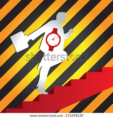 Business Solution and Time Management Concept Present By The Businessman With Time Watch Walking Upstairs for Best Vision in His Business in Caution Zone Dark and Yellow Background - stock photo