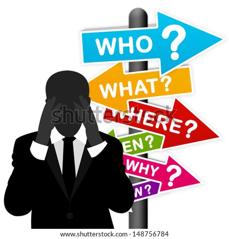 Business Solution Concept Present By A Worried Businessman With Colorful What, Where, When, Why, How and Who Road Sign Isolated on White Background  - stock photo