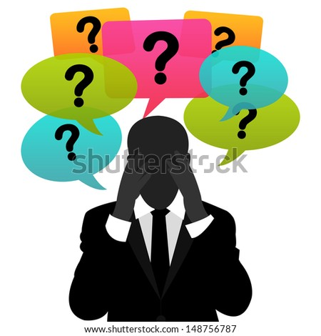 Business Solution Concept Present By A Worried Businessman With Group of Colorful Question Mark Balloon Above Isolated on White Background