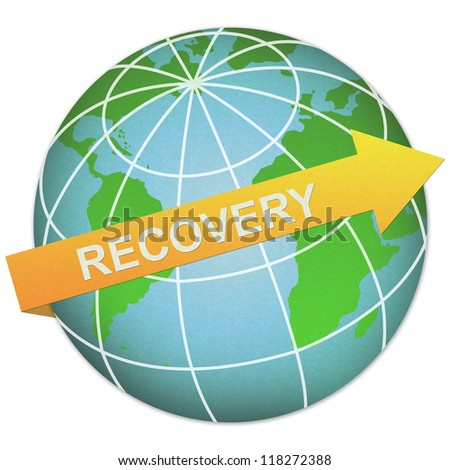 Business Solution Concept Present By Recovery Arrow and The Globe Made From Recycle Paper Isolated On White Background - stock photo