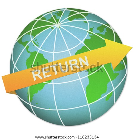 Business Solution Concept Present By Return Arrow and The Globe Made From Recycle Paper Isolated On White Background - stock photo