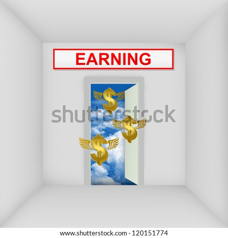 Business Solution Concept Present By The White Room With Earning Door Open to The Blue Sky With Flying Golden Dollar Currency Sign - stock photo