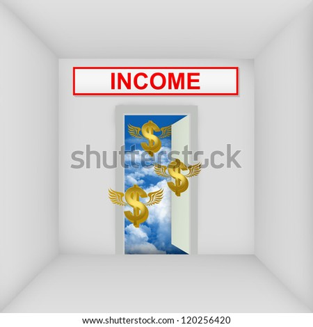 Business Solution Concept Present By The White Room With Income Door Open to The Blue Sky With Flying Golden Dollar Currency Sign - stock photo