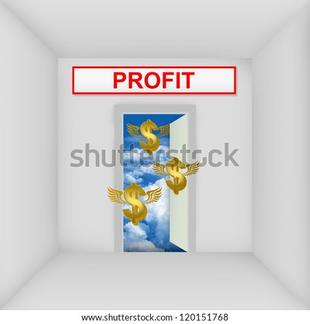 Business Solution Concept Present By The White Room With Profit Door Open to The Blue Sky With Flying Golden Dollar Currency Sign - stock photo